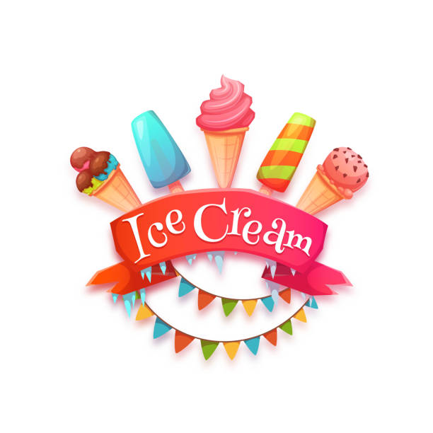 ice cream banner with red ribbon. vector illustration - social stock illustrations, clip art, cartoons, & icons