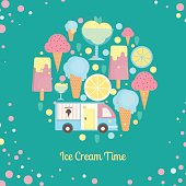 Ice cream bar in flat style
