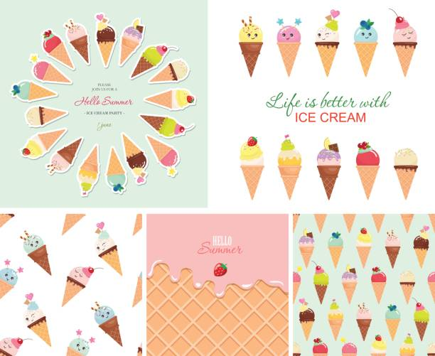 stockillustraties, clipart, cartoons en iconen met de grote reeks van ijs. naadloze patronen, sjablonen, stickers. hallo zomer ontwerp. - vanille roomijs