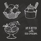 Ice cream bowls on chalkboard