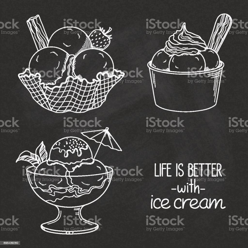 Ice cream bowls on chalkboard vector art illustration