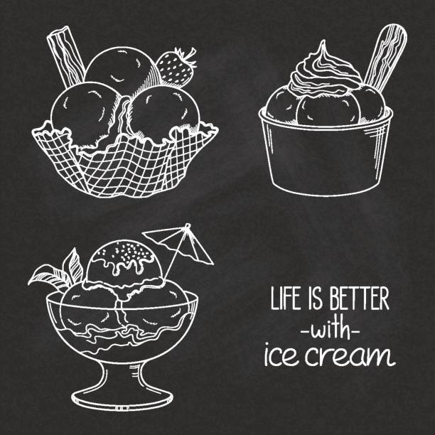 Ice cream bowls on chalkboard Set of hand drawn ice cream served in glass, waffle and paper bowls over chalkboard texture ice cream sundae stock illustrations