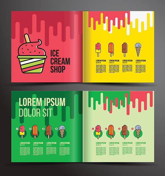 stockillustraties, clipart, cartoons en iconen met ice cream brochure design. menu for ice cream shop. - vanille roomijs