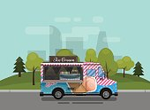 Ice cream cart, kiosk on wheels, retailers, dairy desserts, isolated and Flat style vector illustration against the background of the city. Cool refreshing dessert sale Illustration for your projects