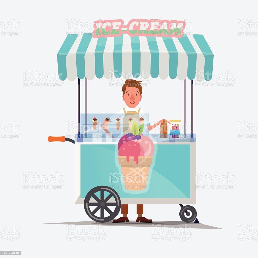ice cream cart - vector illustration vector art illustration