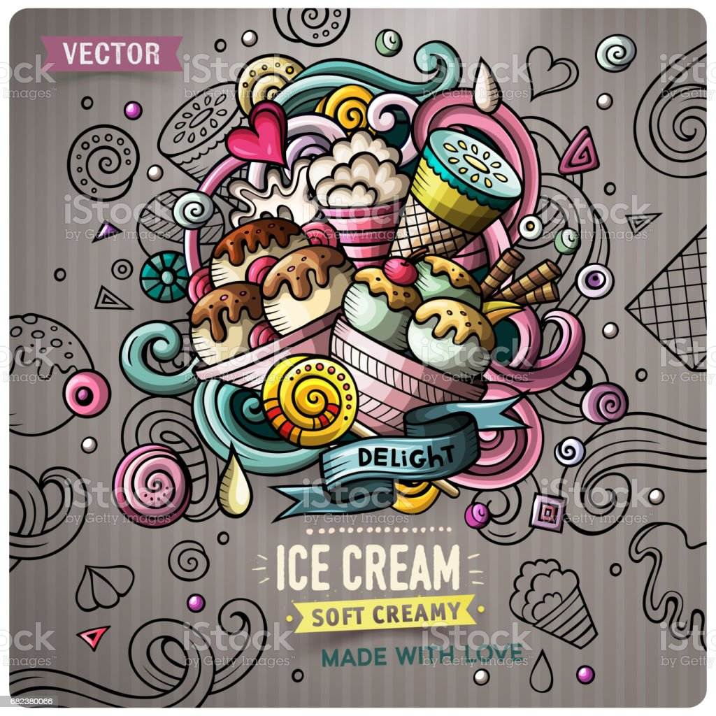 Ice Cream cartoon vector doodle illustration ice cream cartoon vector doodle illustration - immagini vettoriali stock e altre immagini di arredamento royalty-free