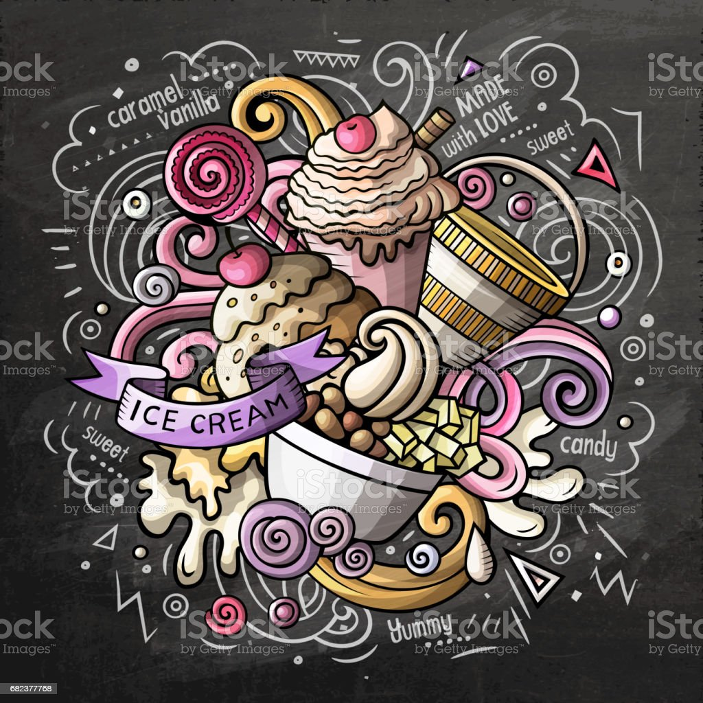 Ice Cream cartoon vector doodle watercolor illustration ice cream cartoon vector doodle watercolor illustration - immagini vettoriali stock e altre immagini di arredamento royalty-free