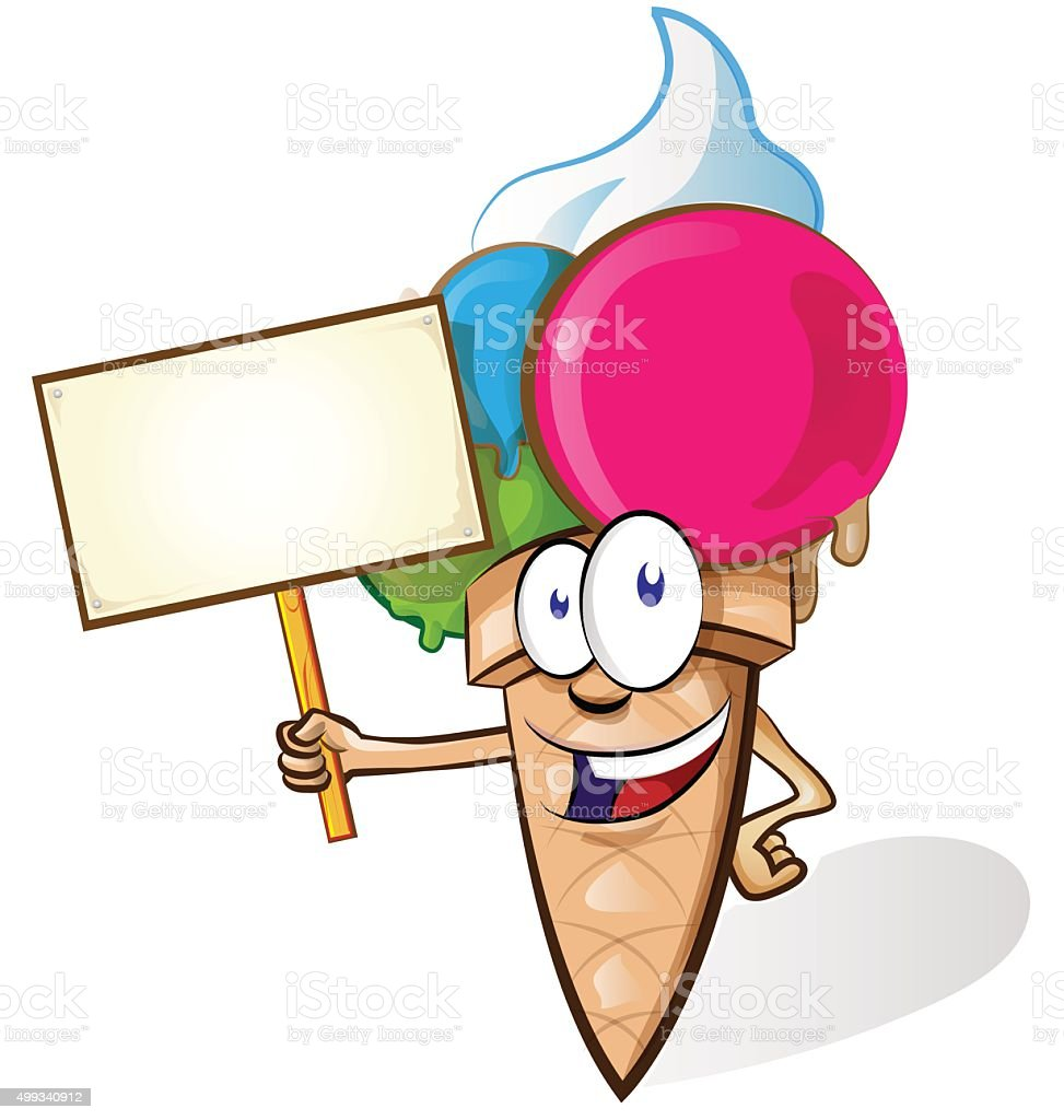 Ice cream cartoon with signboard vector art illustration