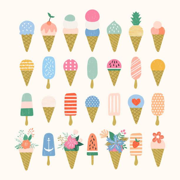 ilustraciones, imágenes clip art, dibujos animados e iconos de stock de prediseñadas de helado. fondo de verano - ice cream cone