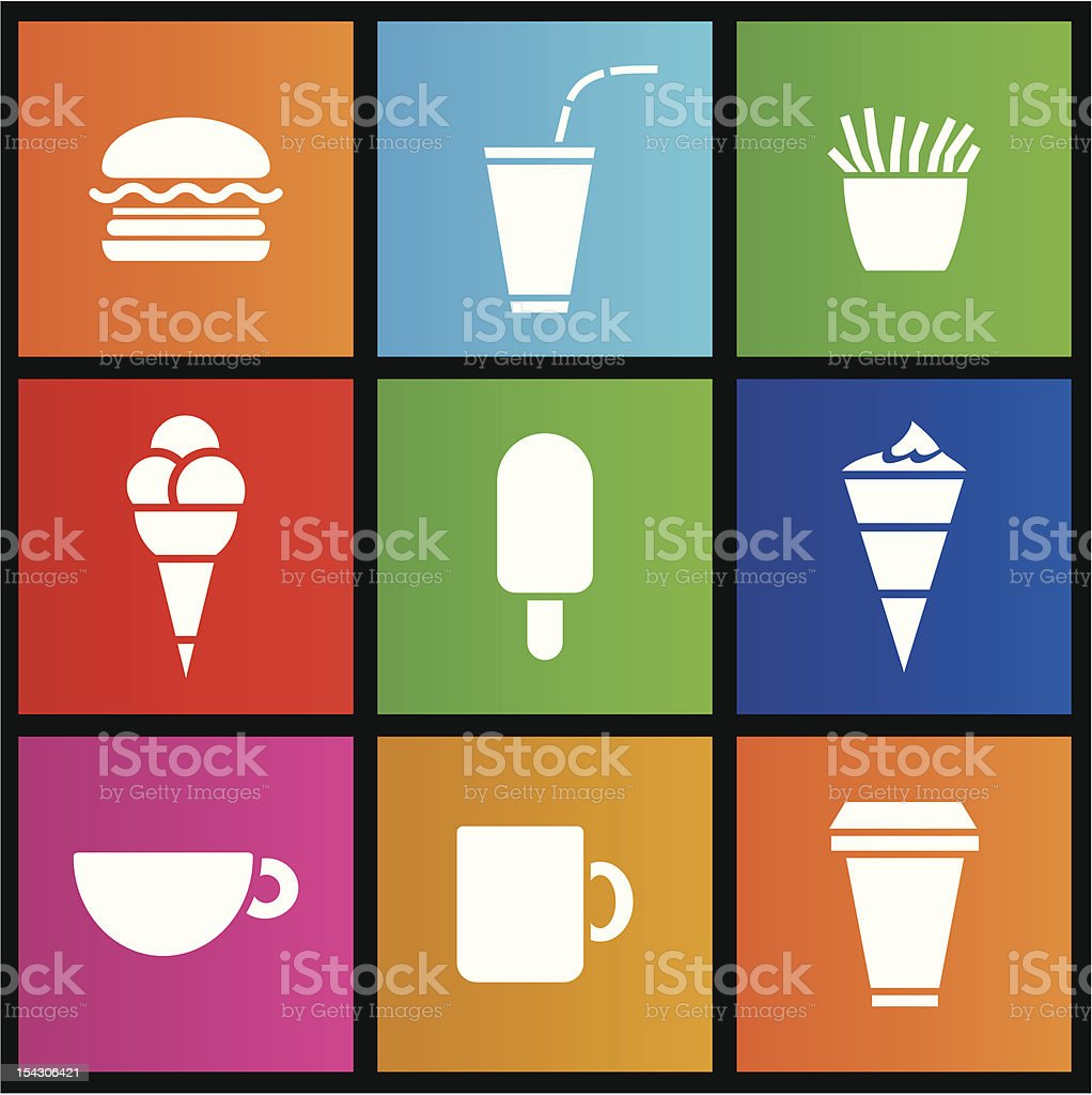 Ice Cream, coffee and Fast Food royalty-free stock vector art