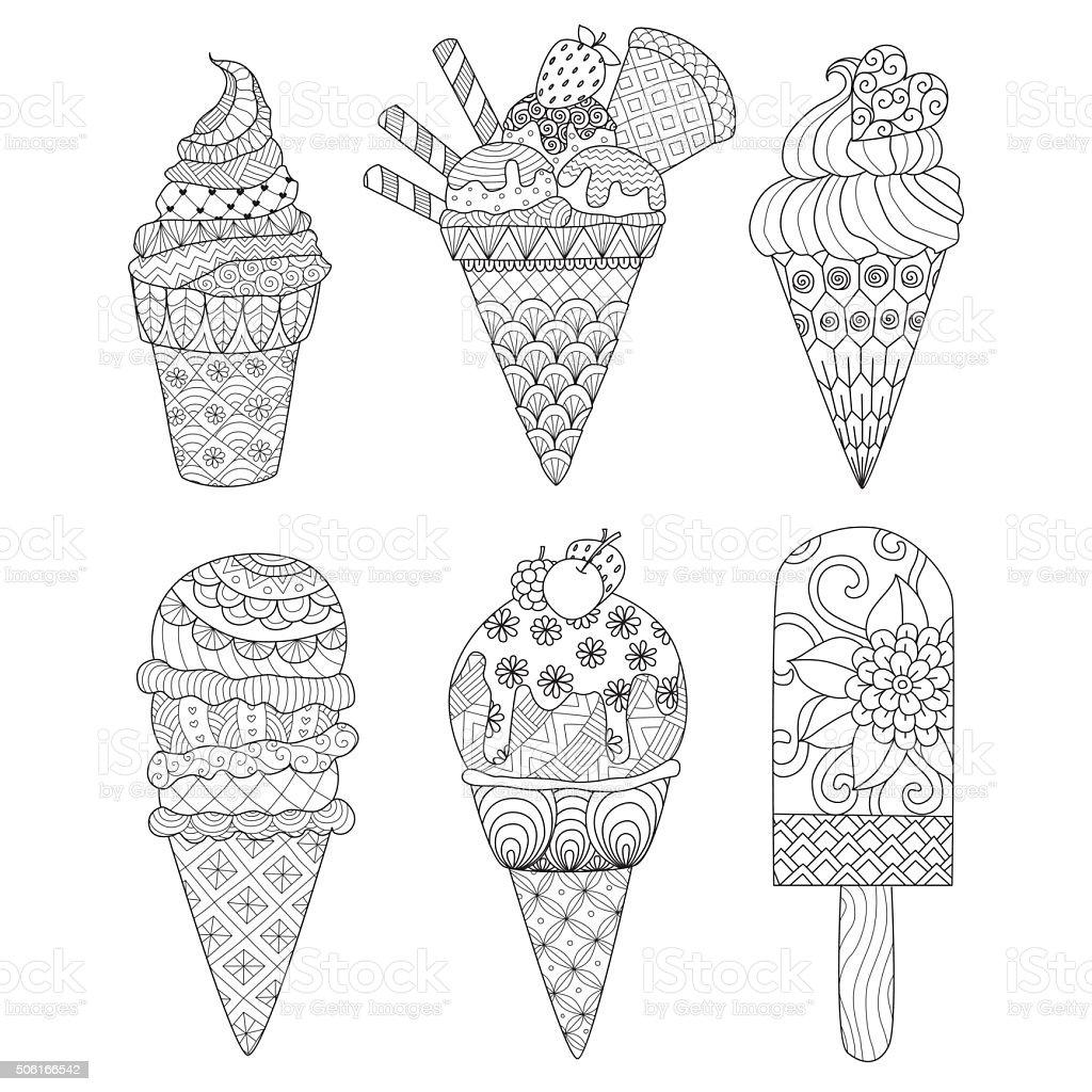 ice cream coloring book vector art illustration