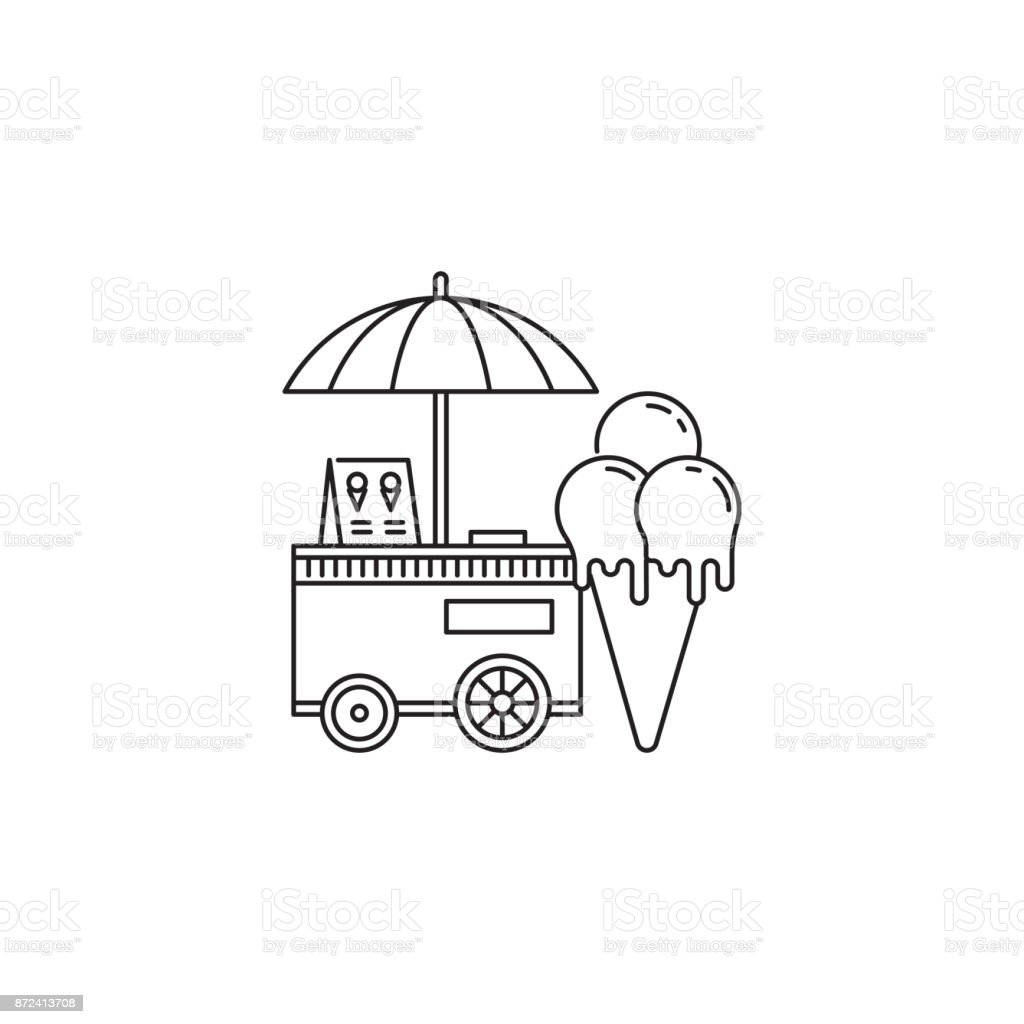Ice Cream Cone And Cart Icon Vector Linear Design Isolated On ...
