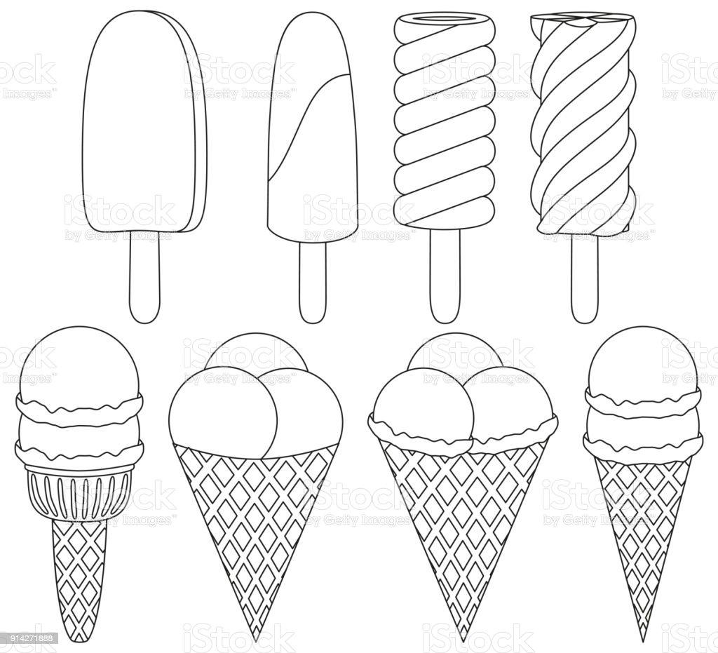 Dondurma Koni Siyah Beyaz Simgesi 8 Ogeleri Ayarlayin Stok Vektor