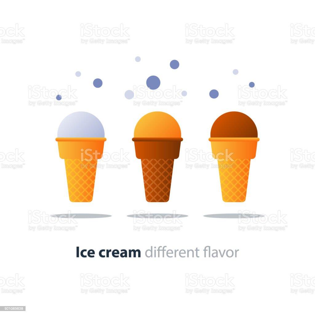 Ice cream cone, chocolate glazing, tasty flavor, cool refreshing dessert vector art illustration