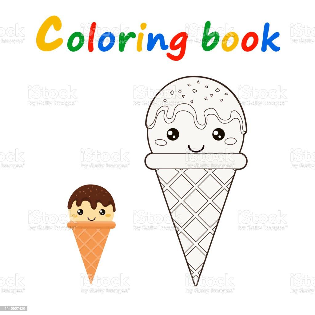 Livre De Coloriage De Cone De Creme Glacee En Ctyle De