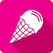 Vector illustration of a pink ice cream cone icon in flat style.