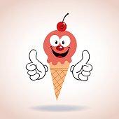 ice cream cone mascot cartoon character