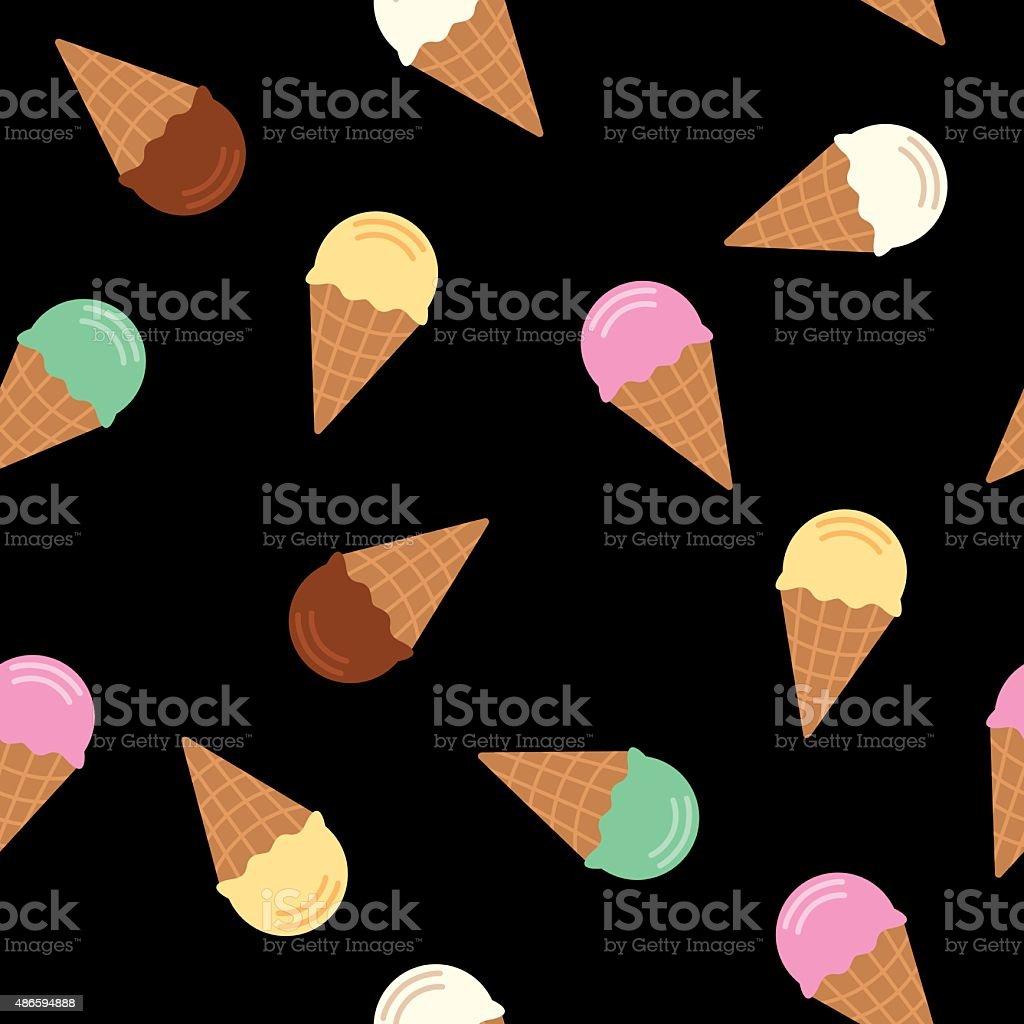 Ice Cream Cone Pattern Flavors vector art illustration