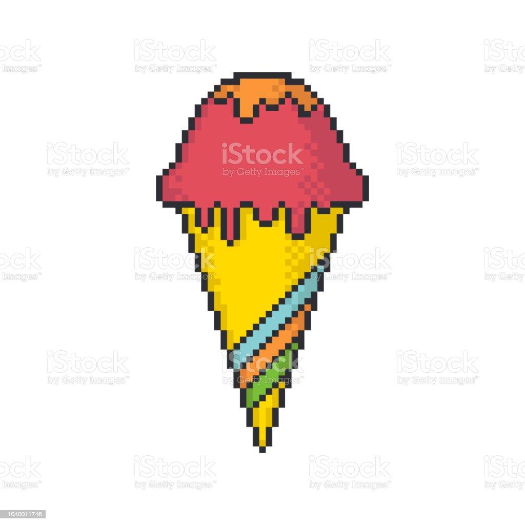 Glace Cône Pixel Art Style Vecteur Icône Sur Fond Blanc