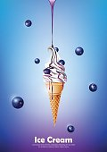 Ice cream cone, Pour blueberry syrup and blueberry background, Vector