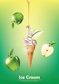 Ice cream cone, Pour green apple syrup and background, Vector