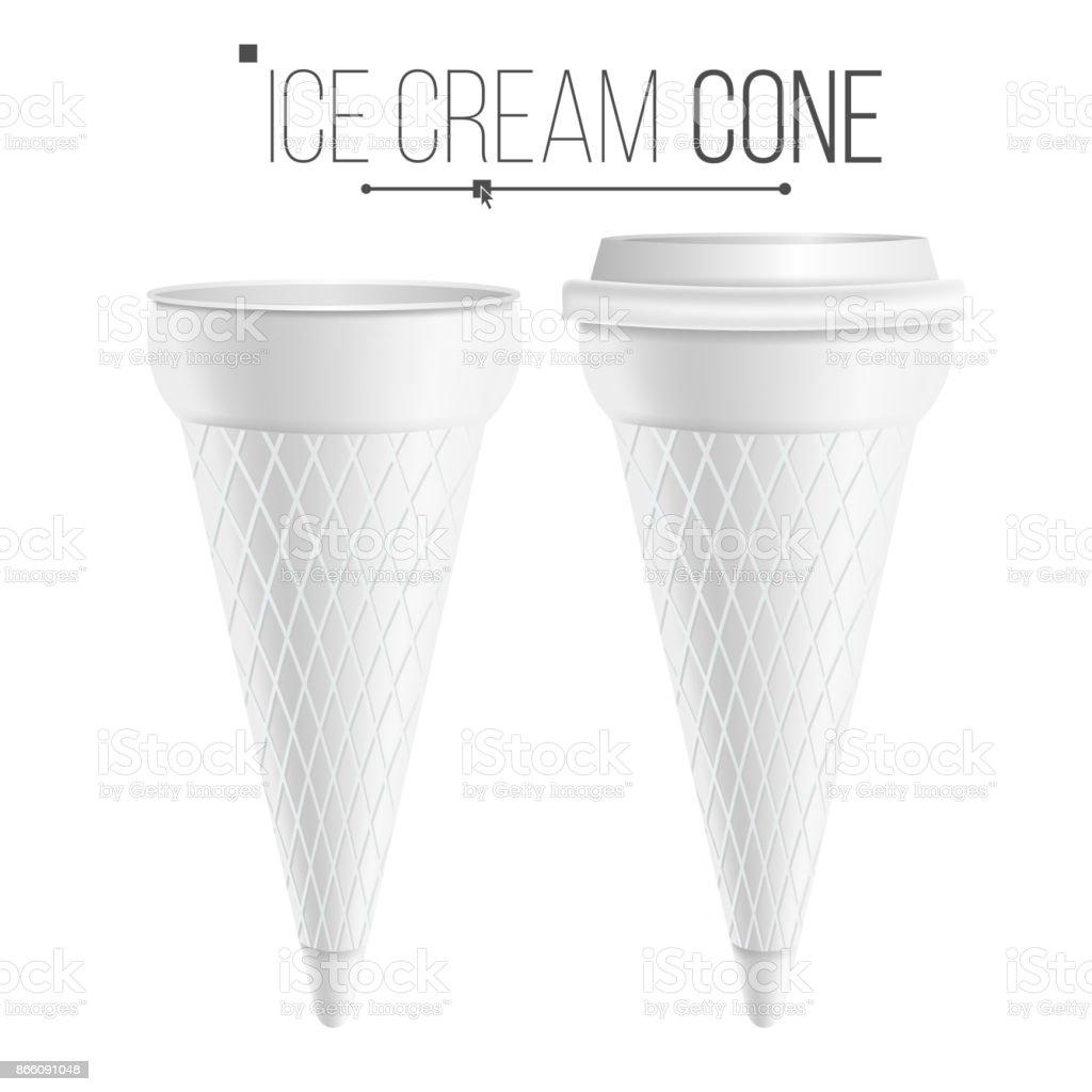Ice Cream Cone Template Vector For Dessert Yogurt Plastic Or ...