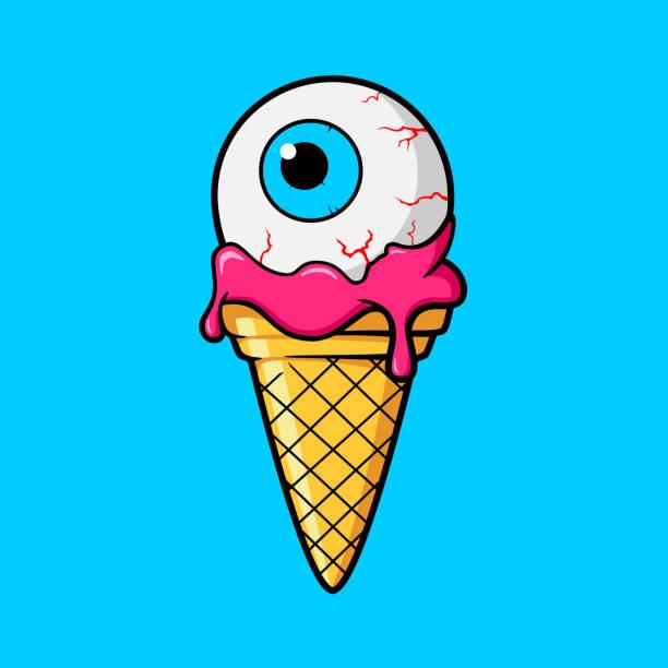 ilustraciones, imágenes clip art, dibujos animados e iconos de stock de cono de helado con ojo - ice cream cone