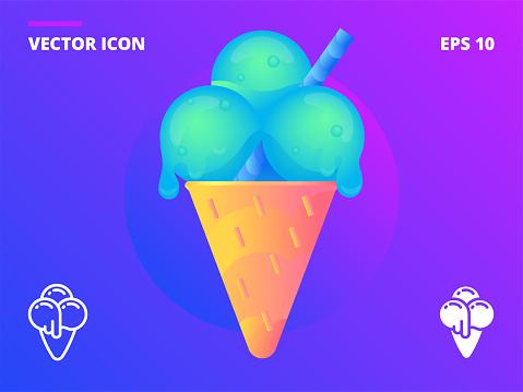 Ice cream cone with three minty balls