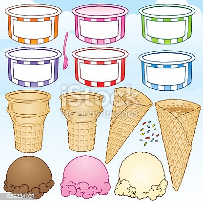 Six colorful ice cream cups, one spoon, two ice cream cones, two waffle cones, one scoop of chocolate ice cream, one scoop of strawberry ice cream,  one scoop of vanilla ice cream and sprinkles.