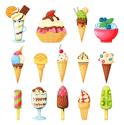 Ice cream cones topped with sprinkles, fruits, syrup, nuts. Tasty fruit ice, kiwi popsicle. Vanilla and chocolate sundae. Cartoon summer dessert vector set