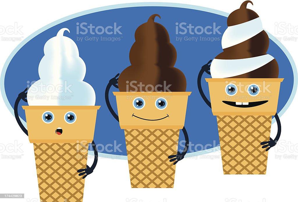 Ice Cream Cones Trio vector art illustration
