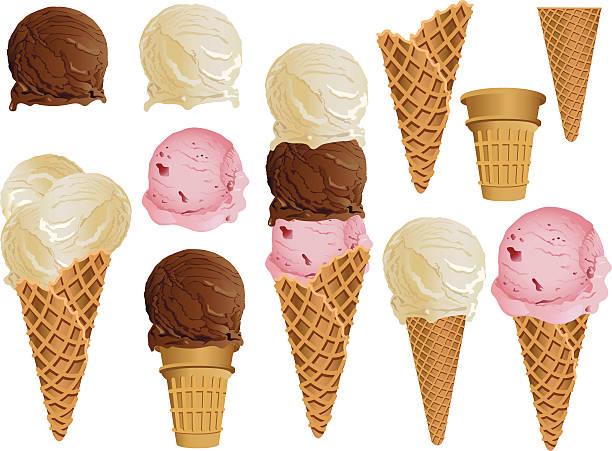 ilustrações de stock, clip art, desenhos animados e ícones de cones de gelado - ice cream