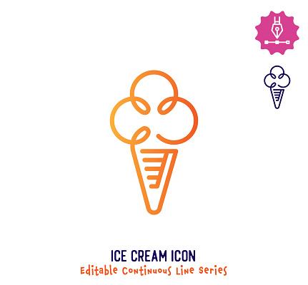 Ice Cream Continuous Line Editable Icon