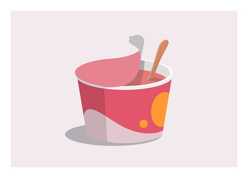 Ice cream cup with wooden spoon, simple flat illustration.