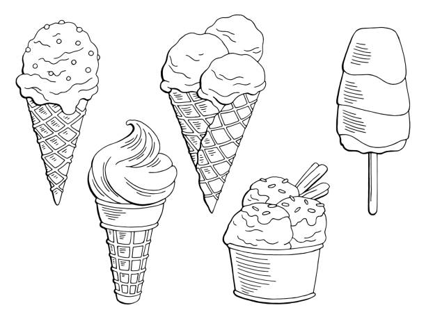 Best Ice Cream Coloring Clip Art Illustrations, Royalty-Free ...