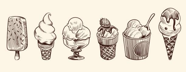 Ice cream dessert. Hand drawn black engraved vintage sweet delicious in bowl for restaurant isolated sketch vector set Ice cream dessert. Hand drawn black engraved vintage sweet delicious in bowl for restaurant isolated sketch vector vanilla drawing sundae icecream set bowl of ice cream stock illustrations