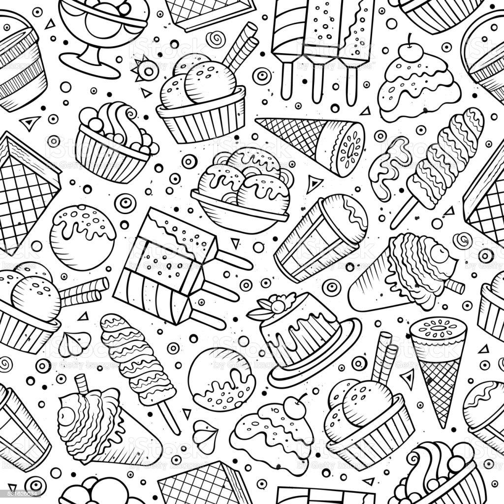 Ice Cream Doodles Seamless Pattern Stock Vector Art Amp More