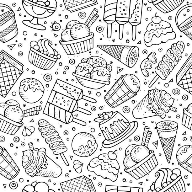 stockillustraties, clipart, cartoons en iconen met ice cream doodles seamless pattern - vanille roomijs
