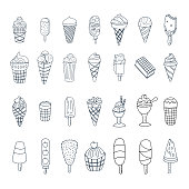 Hand-drawn different types of ice cream. Vector doodle set.