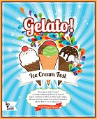 Ice Cream festival retro poster