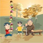 illustration of a funny scene in park.