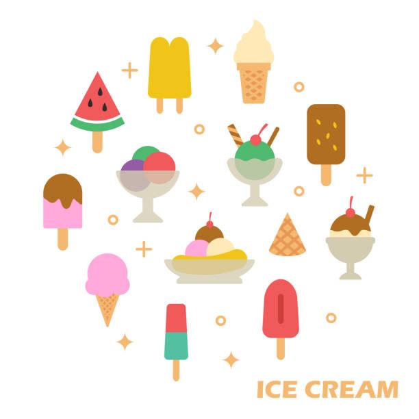 ice cream flat design ice cream flat design, vector elements ice cream sundae stock illustrations