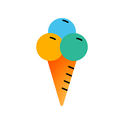 Ice Cream Flat Icon. Flat Design Vector Illustration