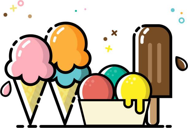 stockillustraties, clipart, cartoons en iconen met ijs pictogrammenset platte vector - vanille roomijs
