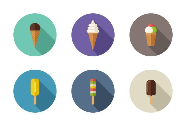 ilustraciones, imágenes clip art, dibujos animados e iconos de stock de iconos planos de helado - ice cream cone