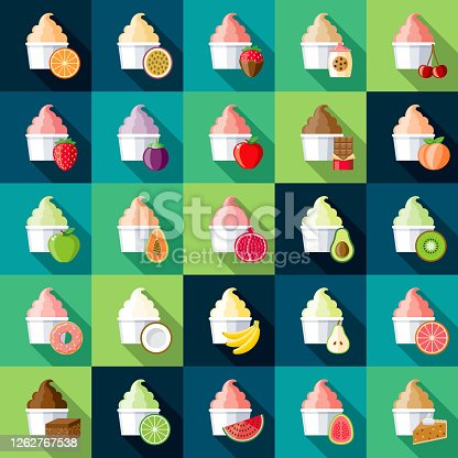 A set of different ice cream, gelato or frozen yogurt flavour icons. File is built in the CMYK color space for optimal printing. Color swatches are global so it's easy to edit and change the colors.