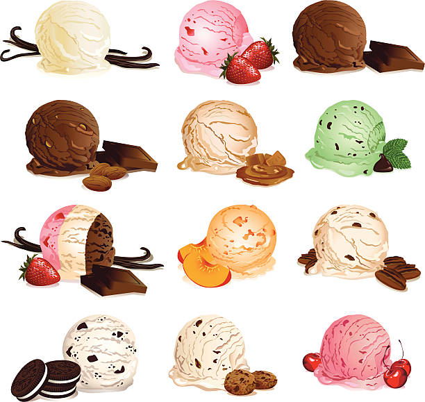 stockillustraties, clipart, cartoons en iconen met ice cream flavors - vanille roomijs