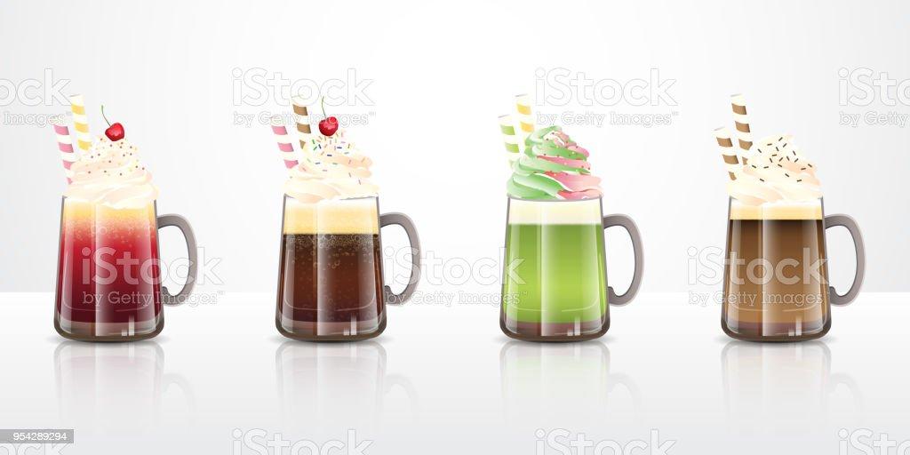 ice cream float drinks recipes vector art illustration