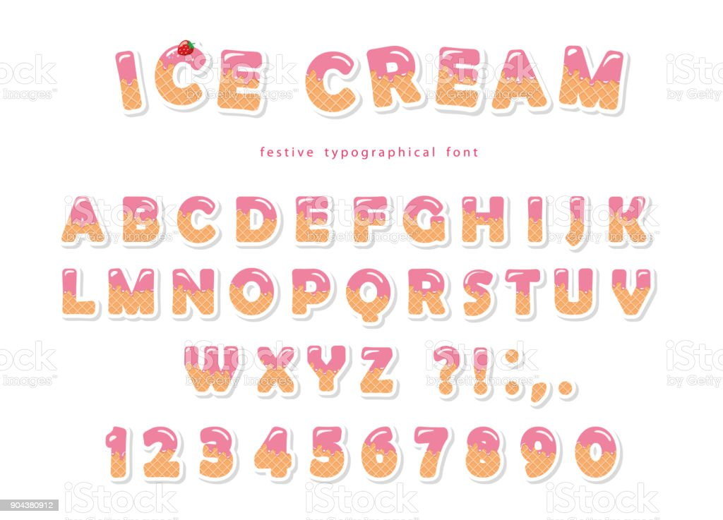 Ice Cream Font. Cute Wafer Letters And Numbers Can Be Used For Birthday  Card,