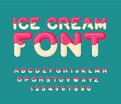 Ice cream font. Popsicle alphabet. Cold sweets ABC. Food typogra